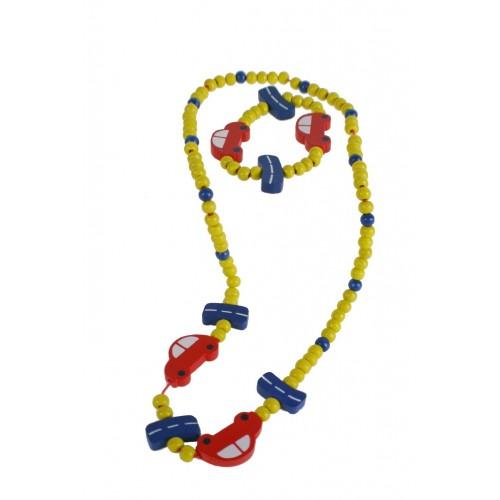 Pulsera y collar de madera para niña de color amarillo con coche