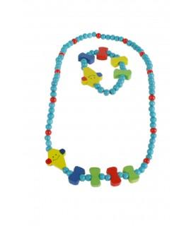 Polsera i collar de fusta per nena de color blau turquesa amb pallasso