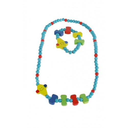 Pulsera y collar de madera para niña de color azul turquesa con payaso