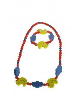Bracelet et collier en bois pour fille rouge avec canard