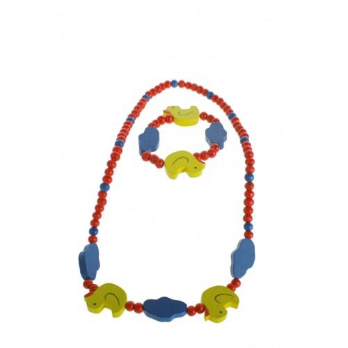 Pulsera y collar de madera para niña de color rojo con patito