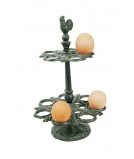 Dispensador de huevos de hierro colado de sobremesa estilo nórdico color negro utensilio de cocina. Medidas: 32x20x20 cm.