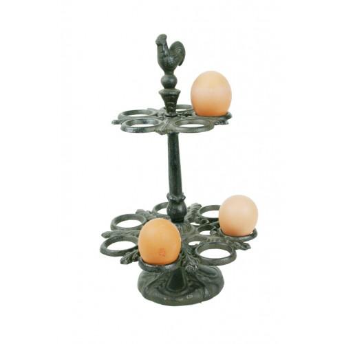 Dispensador de huevos de hierro colado de sobremesa estilo nórdico color negro utensilio de cocina