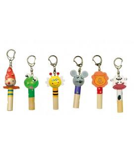 Porte-clés sifflet avec tête d'animal