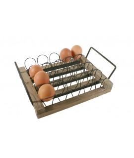 Distributeur d'oeufs de table en bois et métal de style vintage capacité 20 oeufs ustensile de cuisine