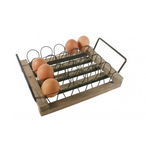 Dispensador de huevos de madera y metal de sobremesa estilo vintage capacidad 20 huevos utensilio cocina
