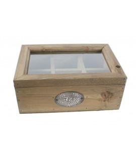 Caja de madera para infusiones con 6 separadores estilo rústico y tapa transparente. Medidas: 10x24x16 cm.