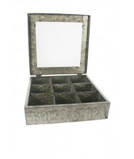 Caja metálica grande con 9 separadores para bolsitas dé thé e infusiones de color estaño estilo industrial menaje de cocina orig