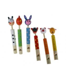 Flauta infantil musical de ebolo con cabeza animal. Medidas: 13xØ2 cm.