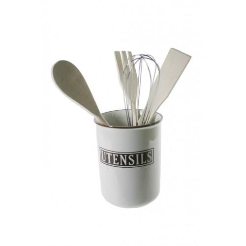 Bote organizador de cerámica con utensilios de cocina decoración vintage menaje de cocina