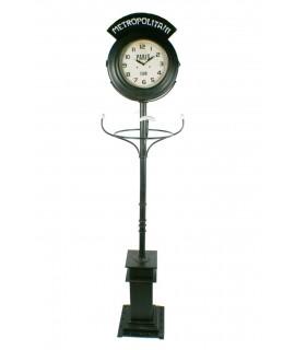Décoration de maison de style industriel de cintre d'horloge de colonne à deux cadrans
