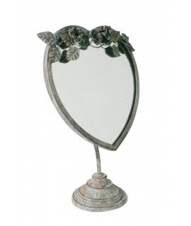 Espejo tocador de sobremesa forma corazón acabado envejecido vintage