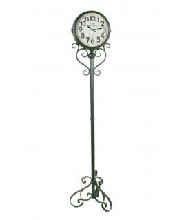 Reloj de pie columna dos esferas estilo industrial decoración hogar