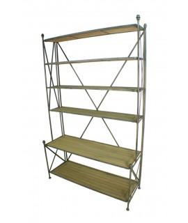 Llibreria gran en fusta i metall amb sis lleixes. Mesures: 190x120x37 cm.