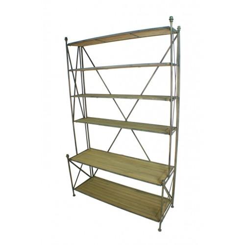 Librería grande en madera y metal con seis baldas. Medidas:190x120x37 cm.