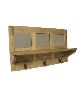 Colgador de pared de madera con sombrerero diseño clásico. Medidas: 45x74x20 cm.