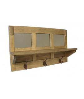 Penjador de paret amb barreter de fusta 3 ganxos vintage