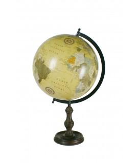 Globe de style vintage avec support en métal et pied en bois.
