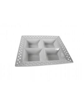 Assiette apéritif en porcelaine blanche à quatre compartiments vaisselle de style vintage