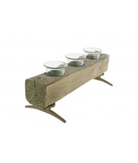 Porta velas de madera con tres soportes de vidrio estilo rustico