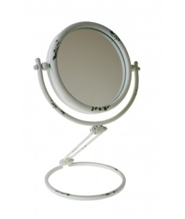 Espejo tocador graduable en altura color blanco envejecido. Medidas totales: Ø 20 cm.