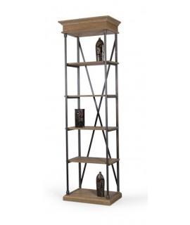 Llibreria petita en fusta de roure i estructura de ferro