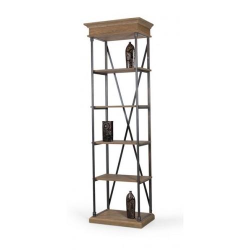 Librería pequeña en madera de roble y estructura de hierro
