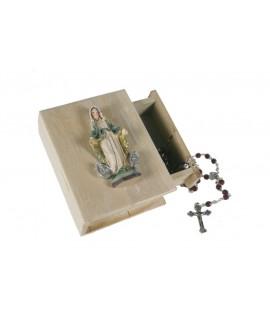Boîte en bois avec couvercle Miraculous Virgin avec chapelet