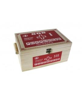 Caja de madera con bandeja extraíble para medicinas