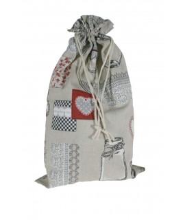 Bolsa para el pan de tela estampada dibujo botes cocina