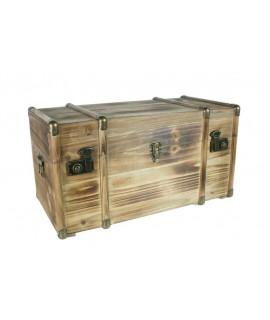 Baúl de madera maciza mediano con herrajes