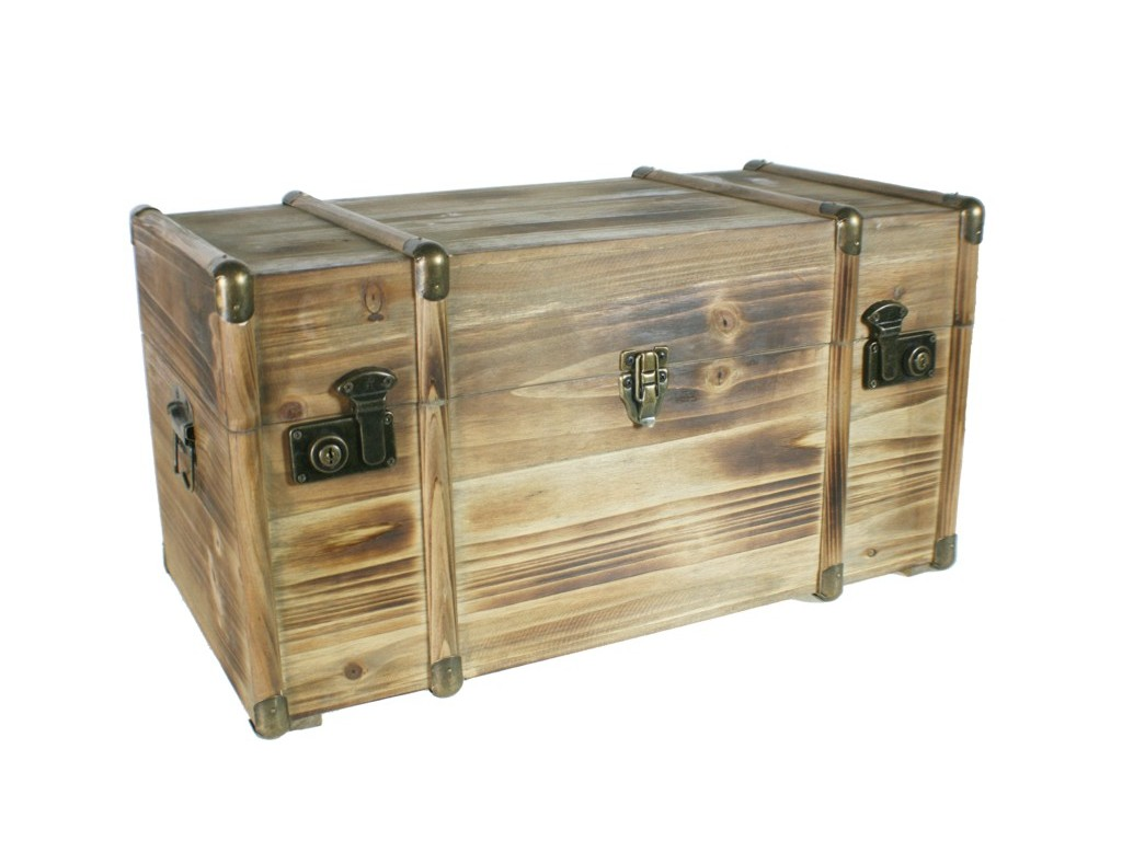 Ba l de madera maciza mediano con herrajes for Muebles madera maciza outlet