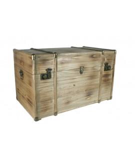 Baúl de madera maciza grande con herrajes