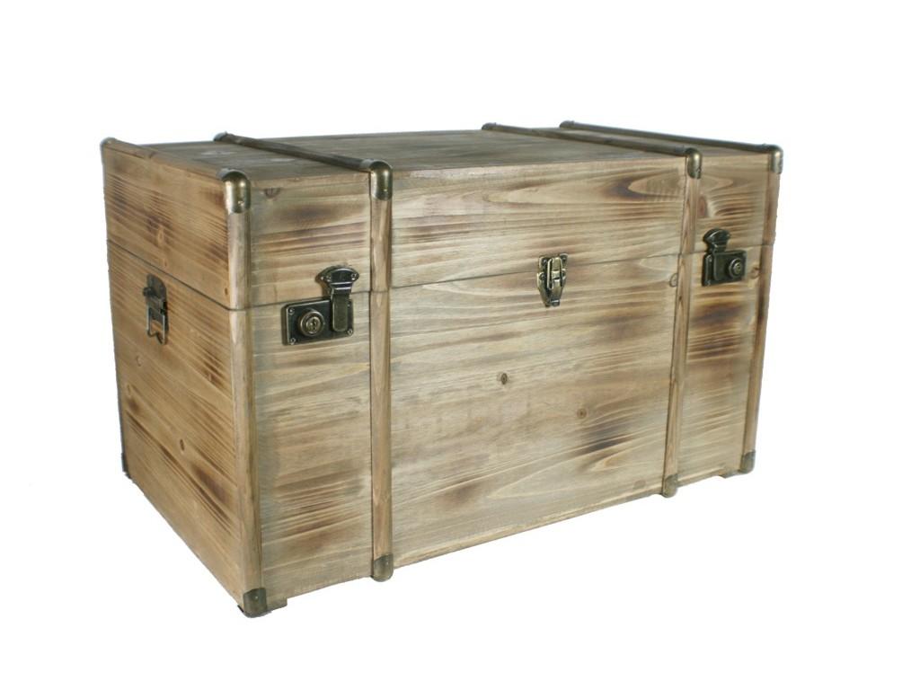 Ba l de madera maciza grande con herrajes for Muebles madera maciza outlet