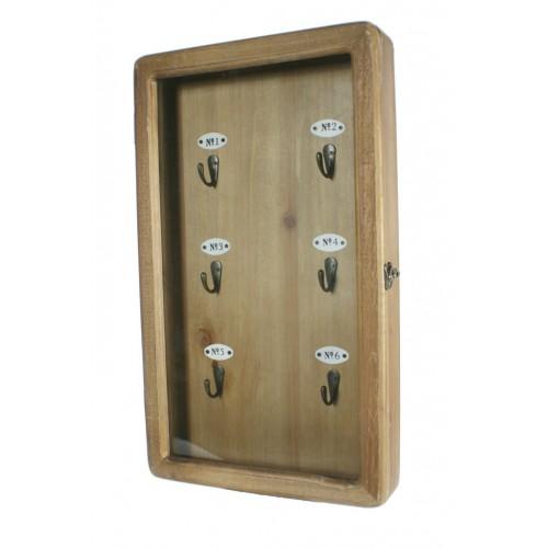 Portallaves de madera acabado rustico para colgar en pared - Porta llaves pared ...