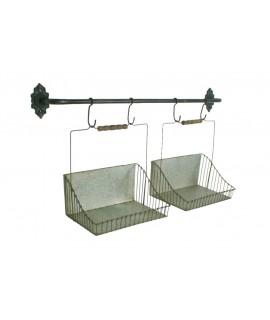 Cestas de metal con soporte para pared acabada en zinc