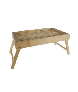 Safata de fusta de bambú i potes plegables amb reixeta per a servei de llit