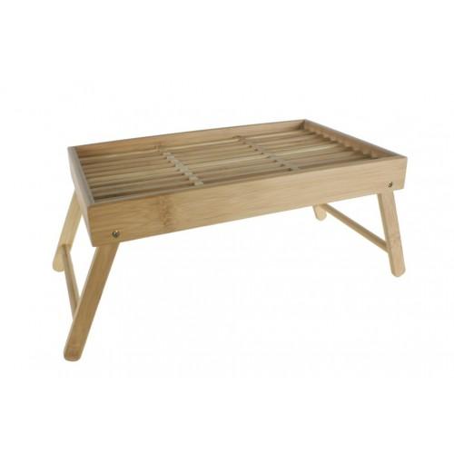 Bandeja de madera de bambú y patas plegables con rejilla para servicio de cama