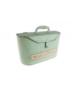 Caja forma de maleta revistero de metal estilo vintage para guardar y almacenar estilo retro color verde