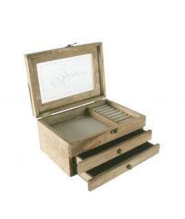 Caja joyero de madera estilo rústico con ventana y dos cajones
