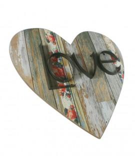 Cadre de coeur avec gravure d'AMOUR. Mesures: 50x50x4 cm.