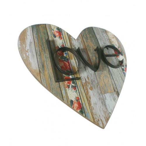 Cuadro corazón con grabado LOVE. Medidas: 50x50x4 cm.