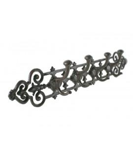 Penjador de ferro colat de 4 ganxos per a paret. Mesures: 11x54x7 cm.