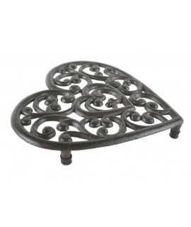 Salvamantel hierro colado forma corazón para la mesa menaje de cocina