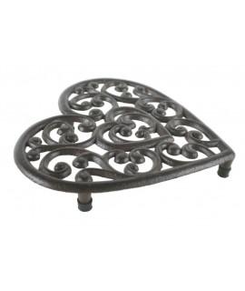 Salvamanteles corazón de hierro colado color bronce. Medidas: 3x20x22 cm.
