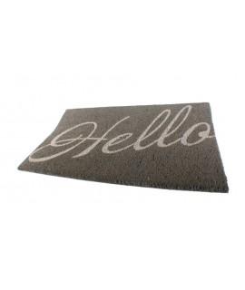 Tapis de fibres naturelles pour porte avec inscription HELLO. Mesures: 2x74x45 cm.