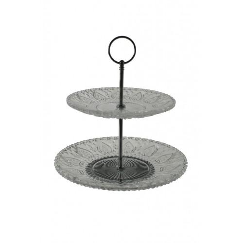 Centro de mesa dos pisos en cristal grabado y soporte plateado. Medidas: 26xØ23 cm.