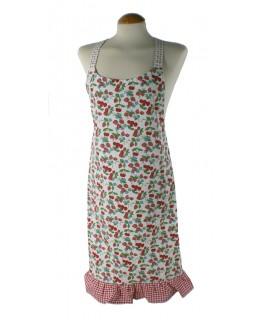 Tablier confit des cerises et des fraises aux fleurs. Mesures: 85x70 cm.