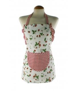 Tablier enfant avec motif fraise et poche centrale. Mesures: 56x48 cm.