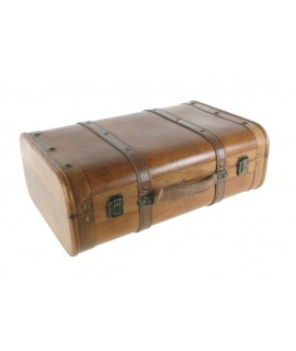 Maleta grande de madera color cerezo. Medidas: 16x45x30 cm.